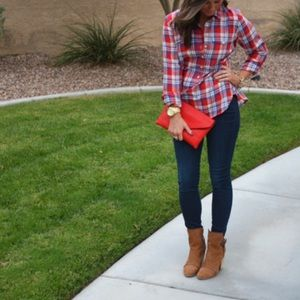 Like New J. Crew Red Plaid Popover Tunic